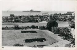 SOUTHSEA GARDENS  distant Aircraft Carrier