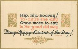 HIP, HIP, HOORAY! verse & flowers