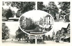 5 insets MANOR PARK/ANGEL BRIDGE/LOOKING DOWN HIGH STREET/THE GREEN/CHEAM ROAD