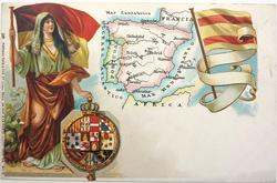 map, flag, crest & woman of Spain & Portugal
