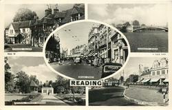 5 insets SONNING VILLAGE/CAVERSHAM BRIDGE/BROAD STREET/MEMORIAL, FORBURY GARDENS/THE ROUNDABOUT