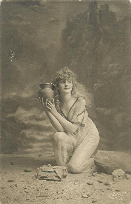 moonlit rocky beach scene, girl poses with water pitcher in right hand, other hand holds it too, she faces slightly left, looking right