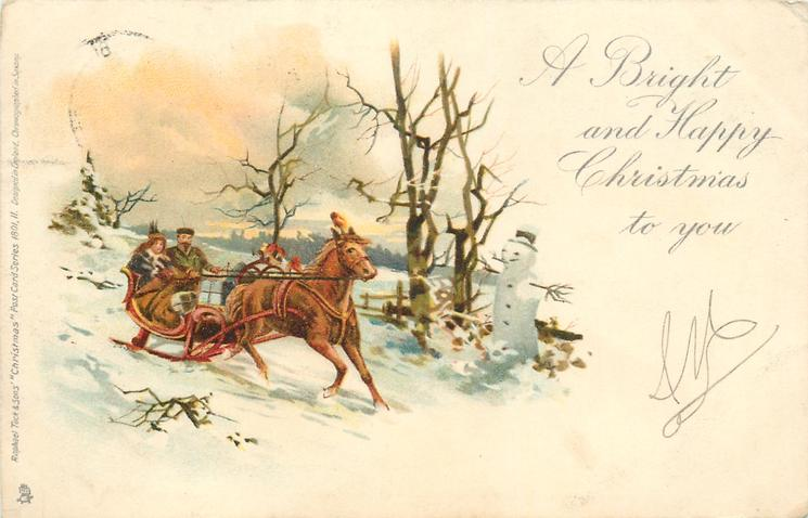 A BRIGHT AND HAPPY CHRISTMAS TO YOU  man & woman on sledge, pulled by horse