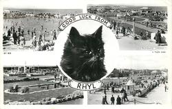 5 insets  CHILDREN'S PADDLING POOL/PROMENADE GARDENS/cat's head GOOD LUCK FROM RHYL/MEMORIAL GARDENS/BOATING POOL
