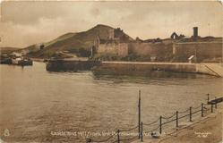 CASTLE AND HILL FROM BREAKWATER, PEEL, I.O.M.