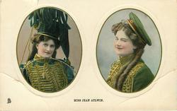 MISS JEAN AYLWIN two insets side by side, large blue hat left, military hat right