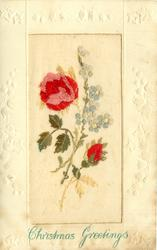 CHRISTMAS GREETINGS opt. in blue, pink/red rose left & bud right, forget-me-nots right
