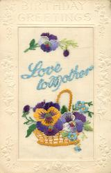 BIRTHDAY GREETINGS embossed LOVE TO MOTHER  in blue, yellow wicker basket with handle, pansies, blue
