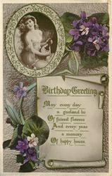 BIRTHDAY GREETINGS  violets