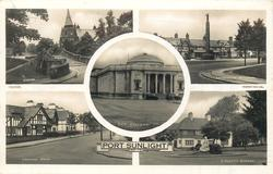 5 insets LYCEUM/LEVERHULME MEMORIAL/ART GALLERY/CENTRAL ROAD/A PRETTY CORNER