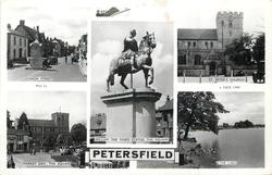 5 insets HIGH STREET/ST. PETER'S CHURCH/WILLIAM THE THIRD STATUE, THE SQUARE/MARKET DAY, THE SQUARE/THE LAKE