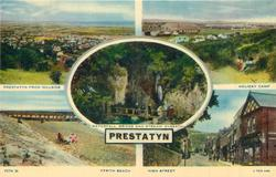 5 insets  PRESTATYN FROM HILLSIDE/HOLIDAY CAMP/WATERFALL, BRIDGE AND STREAM, DYSERTH/FFRITH BEACH/HIGH STREET