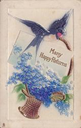 MANY HAPPY RETURNS  swallow, basket of flowers