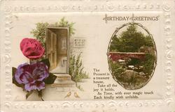 BIRTHDAY GREETINGS  flowers & doorstep left, rural inset right