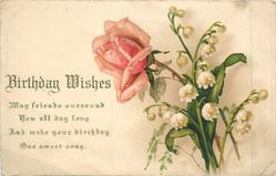 BIRTHDAY WISHES rose & lilies of the valley posy