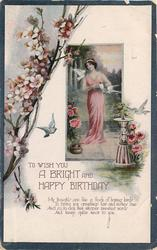 TO WISH YOU A BRIGHT AND HAPPY BIRTHDAY blossoming branch & inset with woman & doves