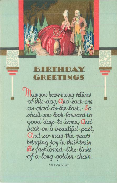 BIRTHDAY GREETINGS couple in old style dress stand in floral garden & look at compass