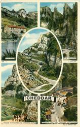 5 insets  LION ROCK/THE PINNACLES/CHEDDAR CLIFFS/MENDIP FOXHOUNDS IN CHEDDAR GORGE/GOUGH'S CAVE AND CAVEMAN RESTAURANT