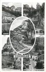 CHEDDAR 5 insets  LION ROCK/THE PINNACLES/CHEDDAR CLIFFS/MENDIP FOXHOUNDS IN ORGE/GOUGH'S CAVE AND CAVEMAN RESTAURANT
