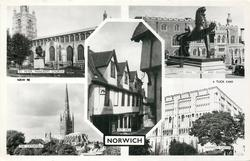 5 insets ST. PETER MANCROFT CHURCH/CITY HALL LION AND GUILDHALL/ELM HILL/THE CATHEDRAL/NORWICH CASTLE
