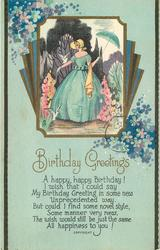 BIRTHDAY GREETINGS lady in style dress holds umbrella, stylised flowers around, blue background