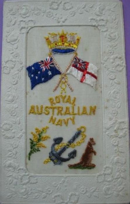 ROYAL AUSTRALIAN NAVY  crown, Australian flag, white ensign, anchor, kangaroo and flowers