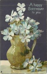 A HAPPY BIRTHDAY TO YOU  green jug of wild blue phlox, handle right