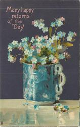 MANY HAPPY RETURNS OF THE DAY  mug of blue forget-me-nots, handle right