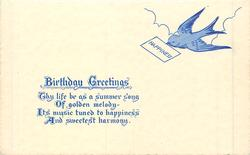BIRTHDAY GREETINGS swallow carrying card inscribed HAPPINESS