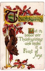 LET US HONOR OUR THANKSGIVING AND MAKE IT A FEAST OF JOY