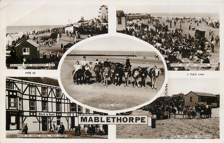 5 insets  PULLOVER AND AMUSEMENT PARK/PUNCH AND JUDY, CENTRAL BEACH/DONKEYS PULLOVER/BOOK IN HAND HOTEL, HIGH STREET/BEACH AND SOUTH PROMENADE