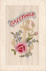 GREETINGS   in red, pink/red rose & two buds, blue forget-me-nots, anchor purple violets