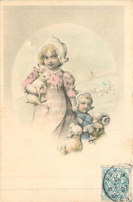 two dutch girls, one on right small & shy, taller girl carries rabbit, sheep observe from right
