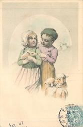 dutch girl carries rabbit, dutch boy stands slightly behind her feeding rabbit with his left hand, two sheep right