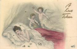 woman in bed, two cupids in air above
