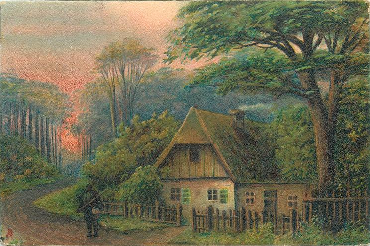 cottage scene, dirt road, man on the road in front of the house, tall trees left/behind, one large tree on the right