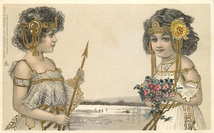 girl on right has flowers hand, girl on left has a spear