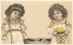 girl on right has lotus flower, girl on left faces front, hands behind back