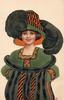 girl in striped fur coat & muff, huge ostrich feathers in hat