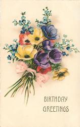 BIRTHDAY GREETINGS  bunch of anemones & forget-me-nots