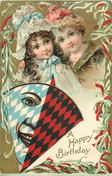 boy & girl, fan with clown's face, black and red diamonds