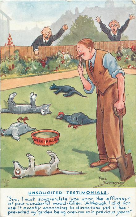 dead cats, dog and birds on grass, man with spade in left hand, WEED - KILLER in a bowl