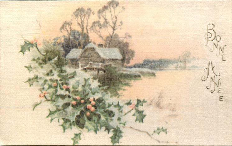 BONNE ANNE opt. in gilt, winter scene with holly