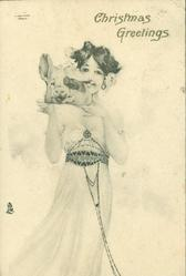 CHRISTMAS GREETINGS, nouveau study of girl facing front carrying pigs head on platter