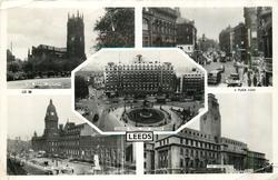 5 insets THE PARISH CHURCH/BOAR LANE/QUEENS HOTEL, CITY SQUARE/THE TOWN HALL THE UNIVERSITY