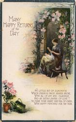MANY HAPPY RETURNS OF THE DAY mother with baby on lap sits before rose-covered doorway, blue borders