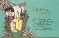 BIRTHDAY GREETINGS  inset lady in yellow dress, gardens