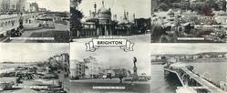 6 insets and titled BRIGHTON, LOOKING EAST FROM THE WESTERN LAWNS and THE ROYAL PAVILION and WATERFALL THE ROCKERY and PROMENADE WEST OF PALACE PIER and PEACE STATUE AND SEA FRONT and PALACE PIER AND SEA FRONT