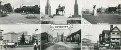 6 insets and titled COVENTRY, THE THREE SPIRES and LADY GODIVA STATUE and THE NEW BROADGATE and BROADGATE and THE CATHEDRAL and TRINITY STREET