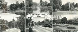 6 insets and titled LEAMINGTON, SPA, JEPHSON GARDENS, THE RIVER LEAM AND BRIDGE, JEPHSON GARDENS, VICTORIA BRIDGE, THE PARADE, JEPHSON GARDENS